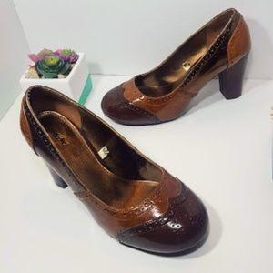 Wingtip Chunky Retro Brown Heels Shoes sz 8